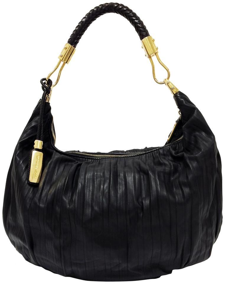 hot products uk availability promo codes Michael Kors Skorpios Crescent Pleated Black Leather Hobo Bag 46% off retail