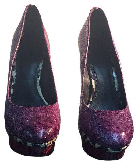 Brian Atwood Purple/ Green / Red Platforms