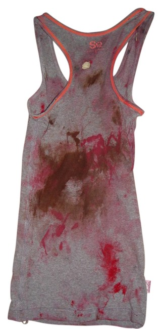 Other Zombie T Tank Living Dead Girl Costume Halloween Stage Theater Band T Shirt grey and faux blood paint