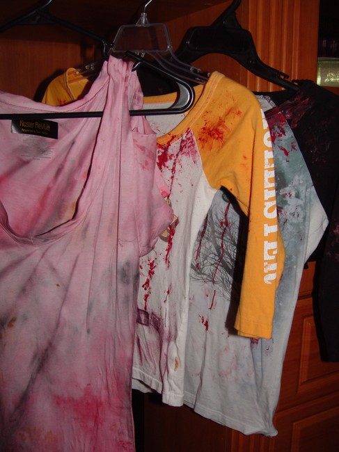 Other Zombie T Op Ank Living Dead Girl Costume Halloween Stage Theater Band T Shirt grey and faux blood paint
