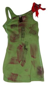 Other Zombie Shirt Tank Living Dead Girl Costume Halloween Stage Theater Band T Shirt green w/faux blood paint, bird