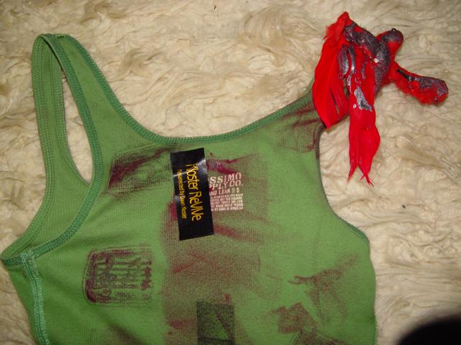 Other Zombie T Tank Living Dead Girl Costume Halloween Stage Theater Band T Shirt green w/faux blood paint, bird