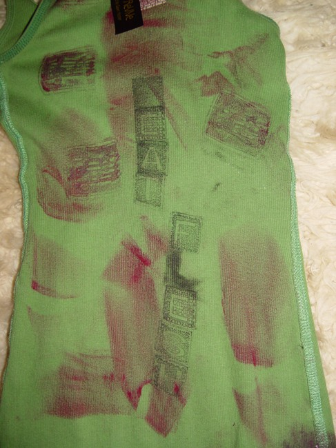 Other Zombie T Op Ank Living Dead Girl Costume Halloween Stage Theater Band T Shirt green w/faux blood paint, bird