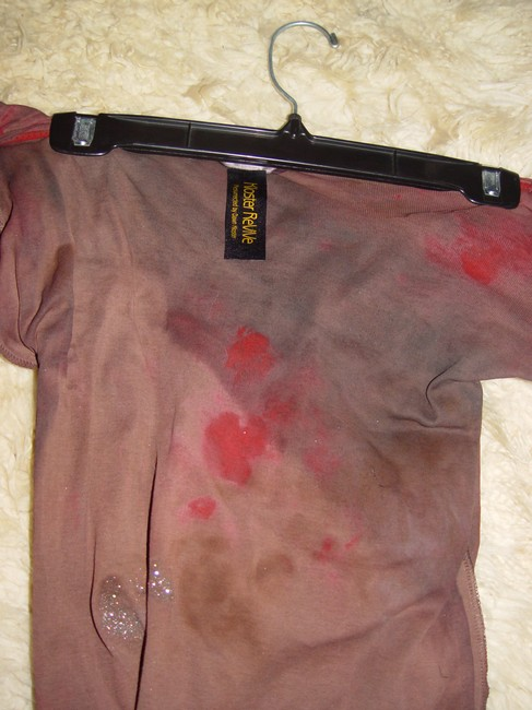 Other Zombie T Tank Living Dead Girl Costume Halloween Stage Theater Band T Shirt rust w/ faux blood paint