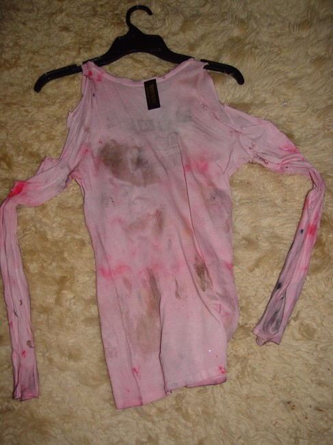 Other Zombie T Op Ank Living Dead Girl Costume Halloween Stage Theater Band T Shirt white crew neck w/ faux blood paint & open shoulder