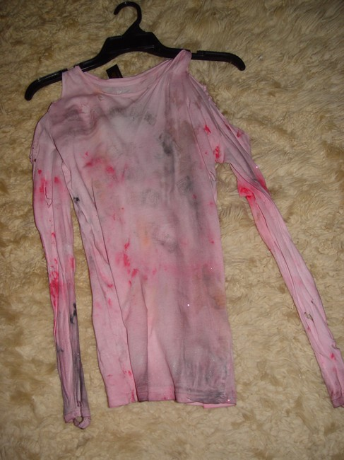 Other Zombie T Tank Living Dead Girl Costume Halloween Stage Theater Band T Shirt white crew neck w/ faux blood paint & open shoulder