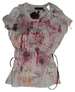 Other Zombie T Tank Living Dead Girl Costume Halloween Stage Theater Band T Shirt white w/ faux blood paint