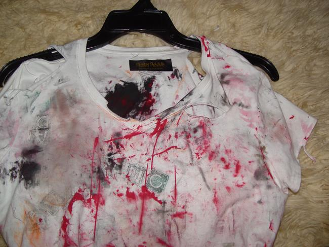 Other Zombie T Op Ank Living Dead Girl Costume Halloween Stage Theater Band T Shirt white w/ faux blood paint