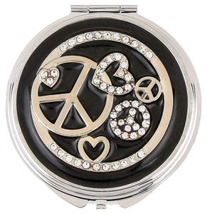 Black and White Crystal Hear and Peace Compact Double Sided Mirror Women Accessory Novelty Gift