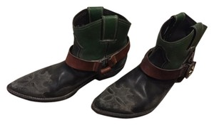 Golden Goose Deluxe Brand Womens Black Leather Short Cowboy Black/Green Boots