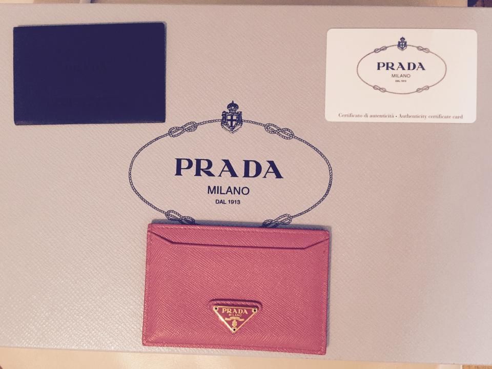 9a68fd5f8d00 Prada Peonia Saffiano Triangle Leather Credit Card Holder Wallet ...
