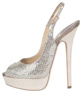 Jimmy Choo Glitter Slingback Sliver/gold Pumps