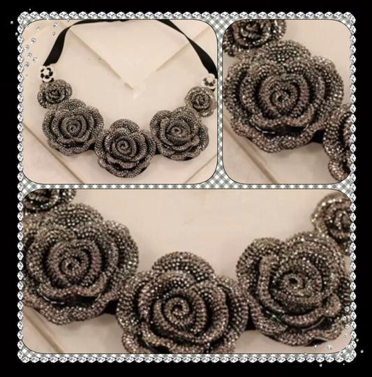 Other New Austrian Crystal Roses Tie Ribbon Choker Bib Statement Necklace