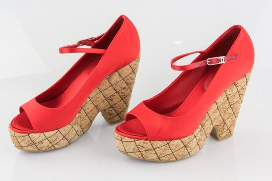 Chanel Red Wedges