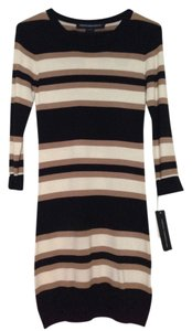 French Connection short dress Black, tan, and cream Bodycon Knit Striped on Tradesy