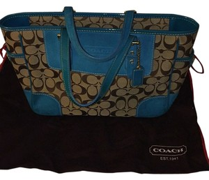 Coach Tote in Blue/Tan