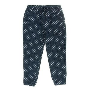 Ralph Lauren Womens White Satin Polka Dot Lounge Casual Pants