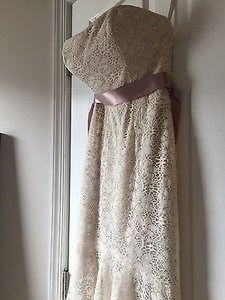 Wtoo Taupe/Ivory Lace Belize Destination Wedding Dress Size 10 (M)