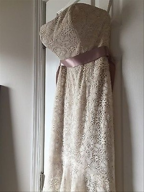 Wtoo Taupe/Ivory Lace Belize Destination Wedding Dress Size 10 (M) Wtoo Taupe/Ivory Lace Belize Destination Wedding Dress Size 10 (M) Image 1