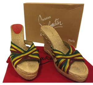 Christian Louboutin red yellow green Wedges