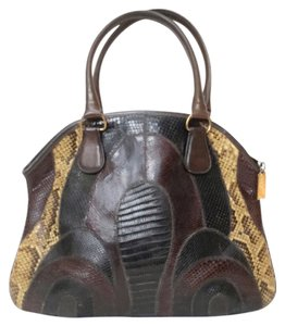 Bags by Varon Vintage Exotic Python Satchel in Brown Tones/ Golden Tone