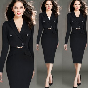 VfEmage Fashion Long Sleeve Faux Wrapped Vneck Button Business Sheath Dress