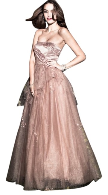 Alberto Makali Tulle Gown Nude Embellished Dress