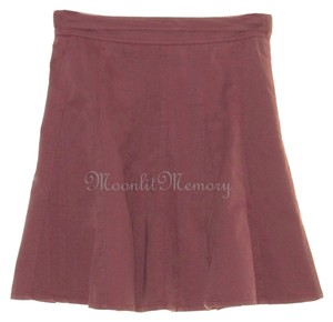 Garnet Hill Short Flared Full Mini Denim Mini Skirt Pink-Brown