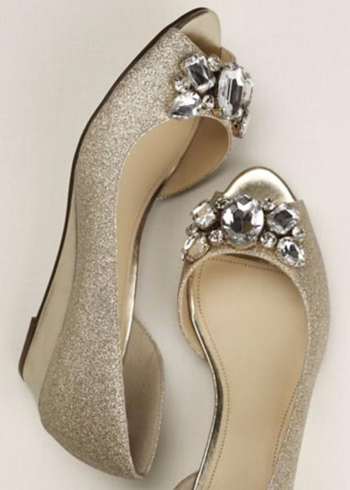 3829a64c53d of Crystal Champagne Nina Gold Sparkly Touch Toe Peep Wedges Metallic  Glitter TwUPnCq