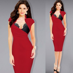VfEmage Women Hot Sexy Built In Lace Bra Stand Stand Collar Zipper Ruched Party Clubwear Sheath Dress