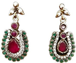 Other Ruby, Emerald and White Topaz 925K Sterling Silver Earrings