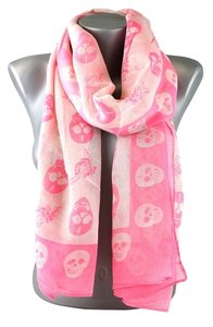 Other Skull Print Pink Fashion Scarf