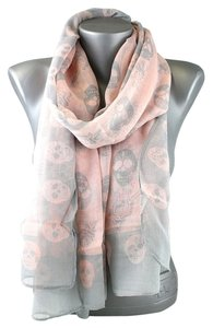 Other Skull Print Gray Pink Fashion Scarf
