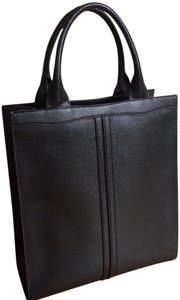 Valextra Italian Leather Tote in Black