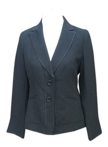 Ann Taylor 3 Button Piping Detail Jacket Black Blazer