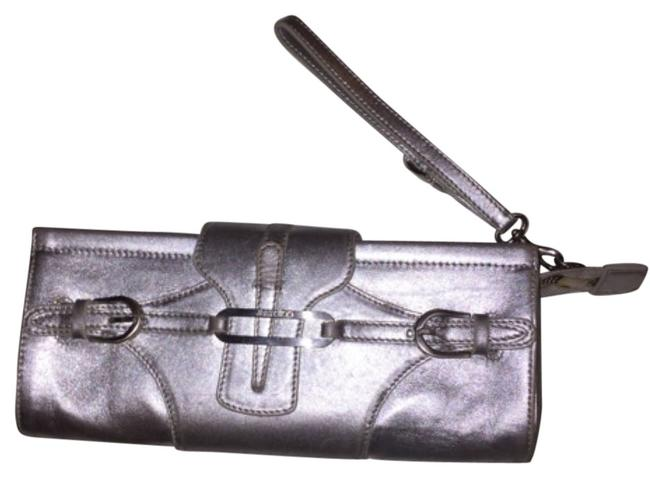 Item - Evening Bag Evening Night Out Party Formal Silver Leather Wristlet