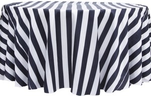 Black And White Stripe Tablecloth 120