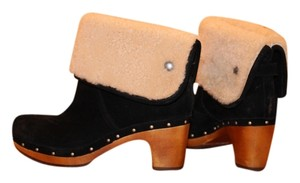 UGG Australia Suede Fold Over Top Fur Lined Clog Style Black Boots