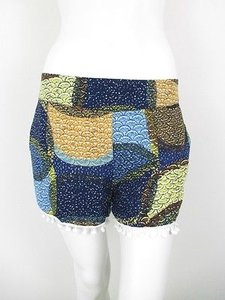 Hazel Anthropologie Blue Shorts Blue, Green, Yellow, White