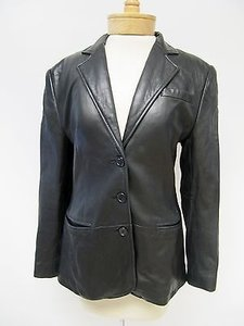 Ralph Lauren Womens Lauren Ralph Lauren Black Leather Jacket Blazer
