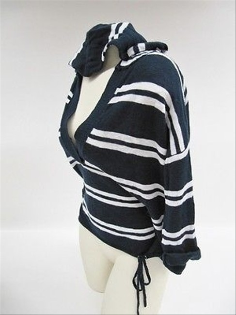 Michael Stars By Navy Whitestriped Hooded Xs Sweater