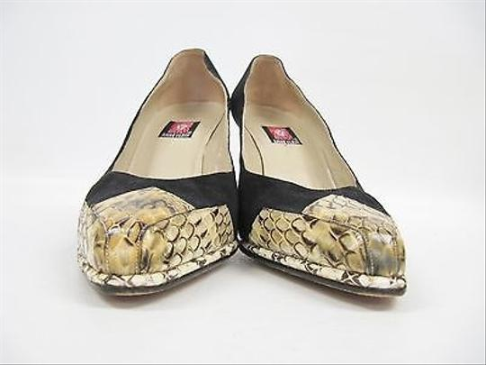 Anne Klein Vtg Suede Snakeskin Matching Clutch Bag Heels Black Pumps