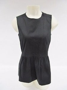 Theory Womens Sleeveless Cotton Blend Peplum Top Black