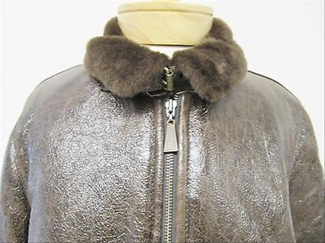 Blue Duck Womens Crinkled Leather Fur Shearling Coat Brown Jacket