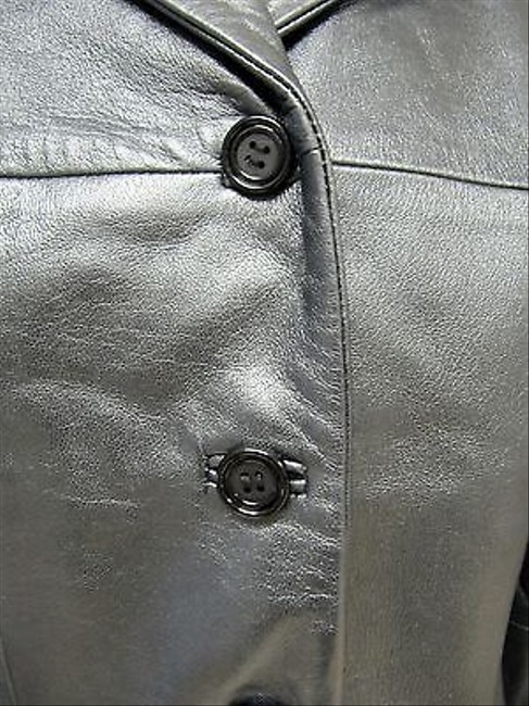 Cache Womens Pewter Leather Blazer Silver Jacket