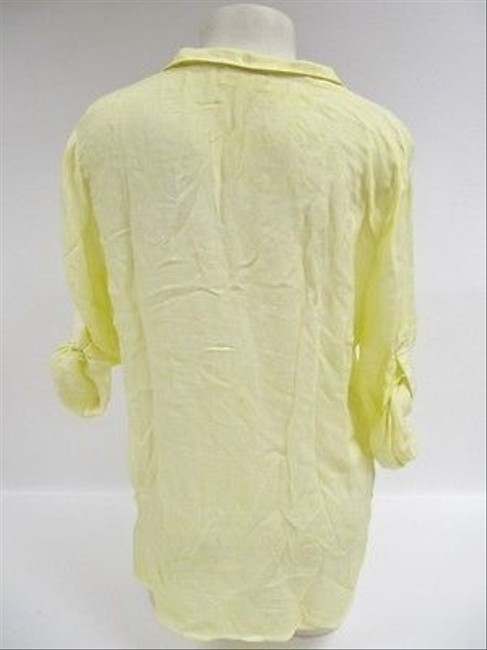 Other Cloth Stone Anthropologie 12 Button Roll Sleeve Top Yellow