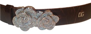 Dolce&Gabbana Dolce & Gabbana Distressed Leather Belt embellished Crystal Rose Buckle