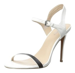 Charles by Charles David White with Black front Strap Sandals