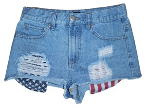 Forever 21 Short Distressed High-rise Shorts Red, White, Blue