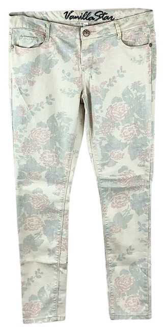 Item - Cream Red Green Distressed Faded Stretchy Roses Print Slim Skinny Jeans Size 32 (8, M)